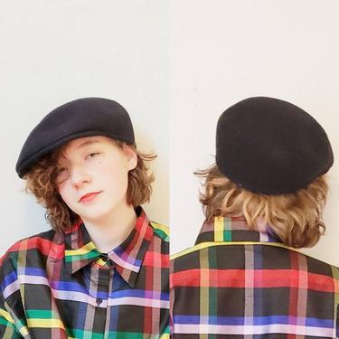 Vintage Original Kangol Carrimac Seamless Black Cap 100% Wool Made in Great Britain XL /  Newsboy Beret Style Hat UK British/ S M by RareJuleVintage