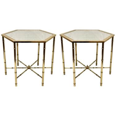 Pair of Polished Brass and Mirror Tops Hexagonal Cocktail Tables by Mastercraft