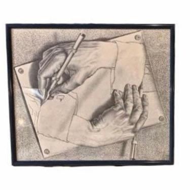 "Mid Century Art, ""Drawing Hands"" is a lithograph by the Dutch artist M. C. Escher, MCM Print, Modern Abstract Art, Vintage Wall Decor by VivaLaVintagedotTX"