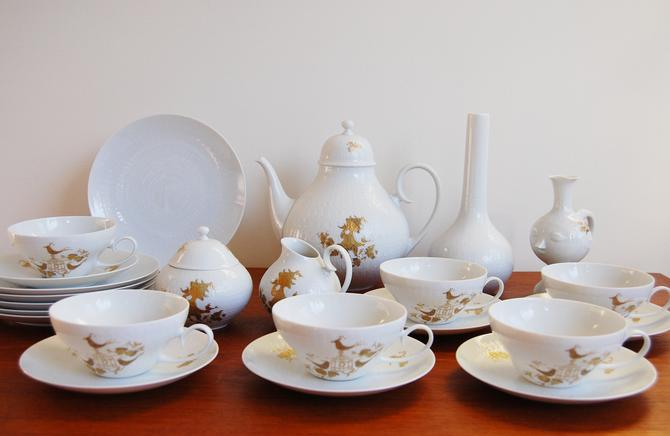 23 pc Rosenthal Studio Line Romance Gold Porcelain China Set Bjorn Wiinblad Made in Germany by MidCentury55