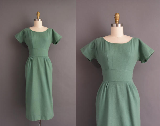 1950s vintage dress | Sage Green Short Sleeve Cocktail Party Pencil Skirt Wiggle Dress | XS Small | 50s dress by simplicityisbliss