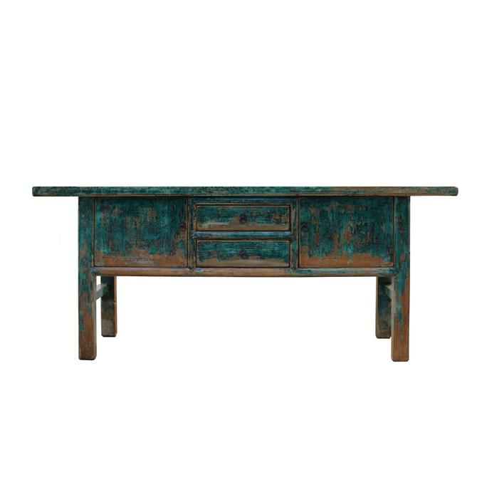 Chinese Distressed Blue 2 Drawers Sideboard Console Altar Table cs5337S