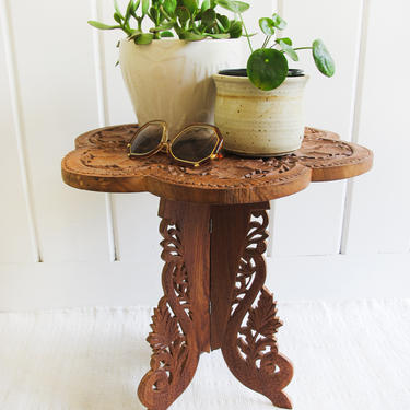 Stunning Rare Vintage Hand Carved Round Scalloped Edge Teak Table - Made in India by PortlandRevibe