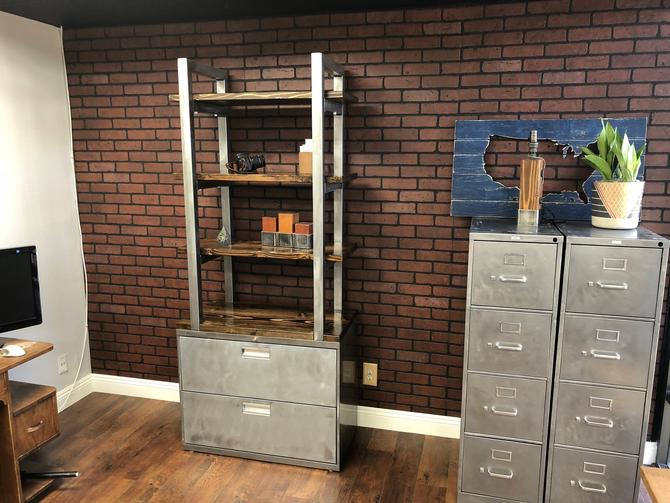 """Bookshelf Cabinet 42"""" Wide - Industrial Rustic / Office Furniture / Steel and Wood / Office Organizer / Rustic Office / Industrial by TheRusticForest"""