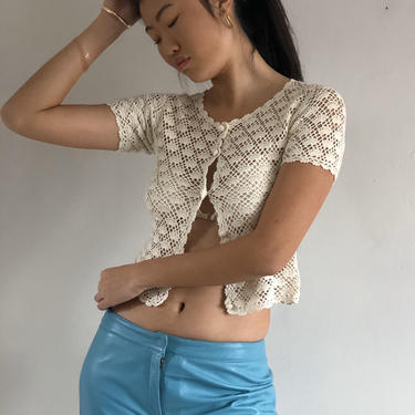 90s crochet cropped sweater top / vintage Esprit creamy white ivory crochet sheer button front croptop sweater cardigan | XS S by RecapVintageStudio