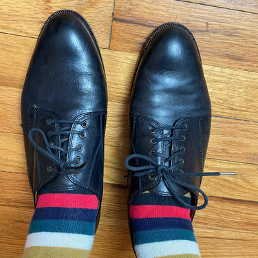 Vintage black Italian leather lace up shoes~ 1980's 1990's hipster~ androgynous style~ women's oxfords~ size 9.5-10M by HattiesVintagePDX