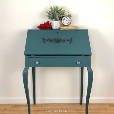 Vintage Secretary Desk with Drop Down Writing area, Cubbies, Storage, Drawer, Curvy Legs, Turquoise, Dark Wax, Details, Applique, Pretty by CaptivaHomeDecor