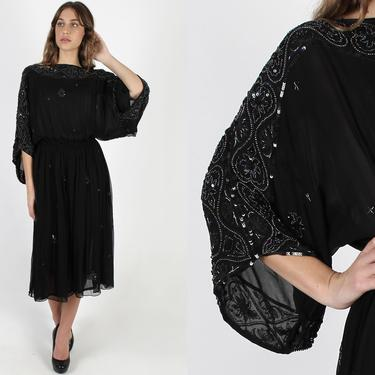 Judith Ann Dress / Black Chiffon Sequin Dress / Vintage  Floral Beaded Thin Bell Sleeves / Airy Lightweight Silk Evening Maxi Dress by americanarchive