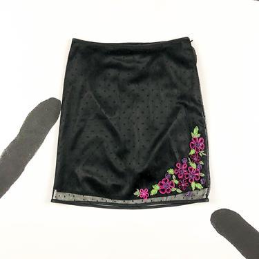 90s Betsey Johnson Black Swiss Dot Overlay Midi Skirt / Slip Skirt / Floral Ribbon Details / Rosettes / Beaded / Small / y2k / 00s / Layer by shoptrashdotnet