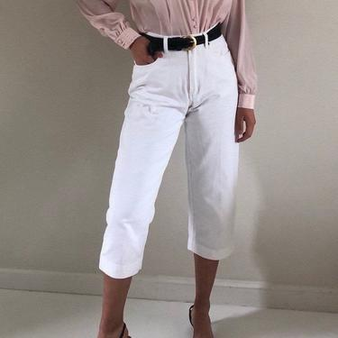 90s cropped white jeans / vintage white cotton denim wide leg cropped high waisted mom jeans | 28 W by RecapVintageStudio