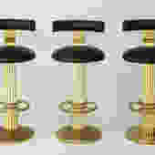 Set of Three Designs for Leisure Barstools in Brass