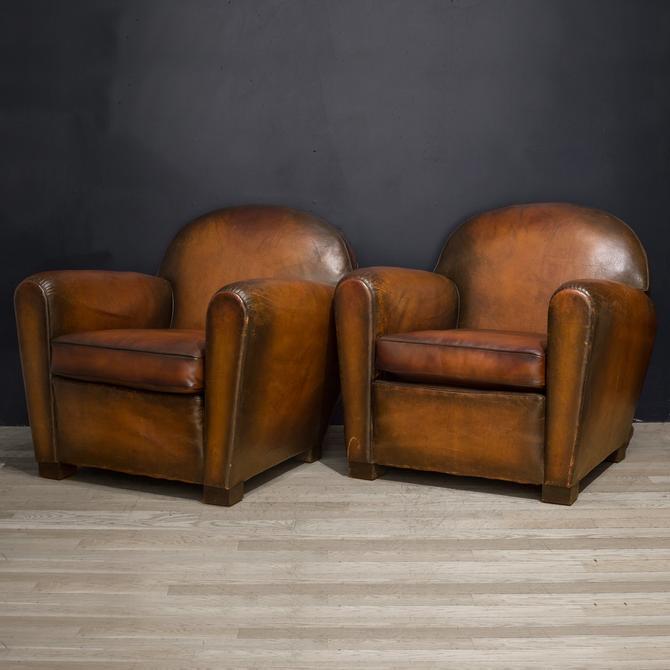 Pair of French Cinema Sheep Hide Club Chairs c.1940