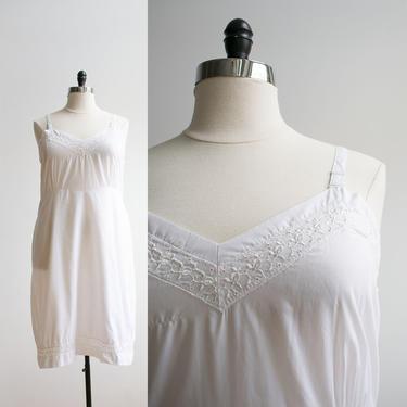 Vintage 1950s Cotton Slip Dress / Vintage Slip Dress / Vintage Slip XL / Vintage Perfect Form Slip 48 / Plus Sized Vintage Slip / 50s Slip L by milkandice