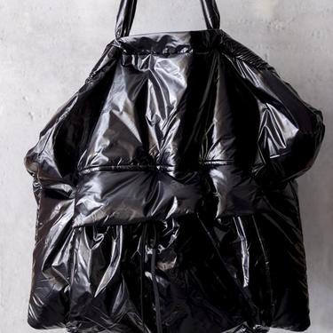 Shiny Black Puffer Bag