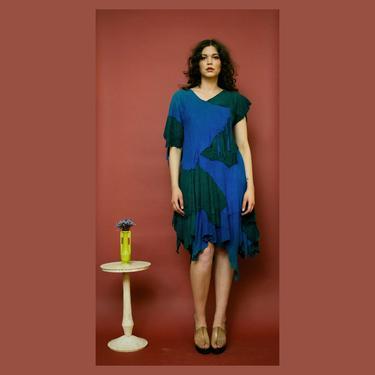 vintage 1970s/80s buckskin suede asymmetrical patchwork fringe dress by Shazam Boutique by FlowerInTheMirror