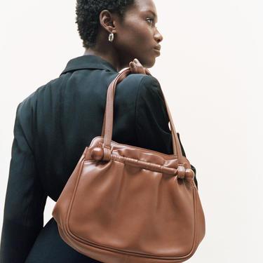 Vintage Brown Hand Bag with Wooden Dowels