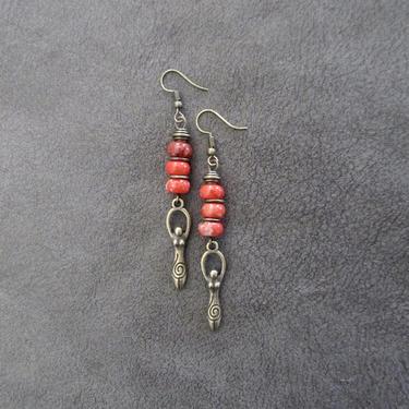 Goddess earrings, African statement earrings, Afrocentric earrings, orange tribal earrings, modern brass earrings, boho chic, female figure by Afrocasian