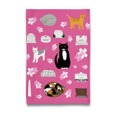 Cherry Blossom Kitties Tea Towel