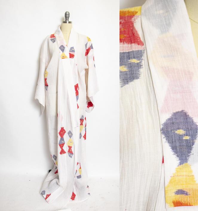 1970s Kimono Robe Cotton Lounge Robe Large by dejavintageboutique