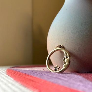 14k Gold Moon with Champagne Diamond Pendant Charm Vintage by RachelPfefferDesigns