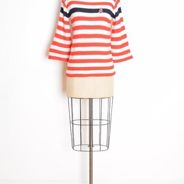 vintage 70s sweater red white striped nautical bell sleeve jumper top shirt anchor S M by huncamuncavintage