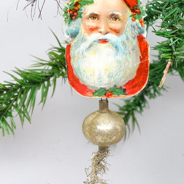 Antique Early 1900's Santa Mercury Glass Christmas Tree Ornament, Vintage Santa Claus Face Scrap with Tinsel by exploremag