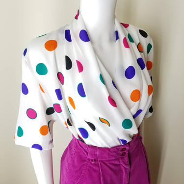 1980s Rainbow Polka Dot Blouse, Medium, NOS ~ Draped Front Surplice Top ~ Multi Colored Dress Shirt ~ Bold Colorful Silky Summer Top by SoughtClothier