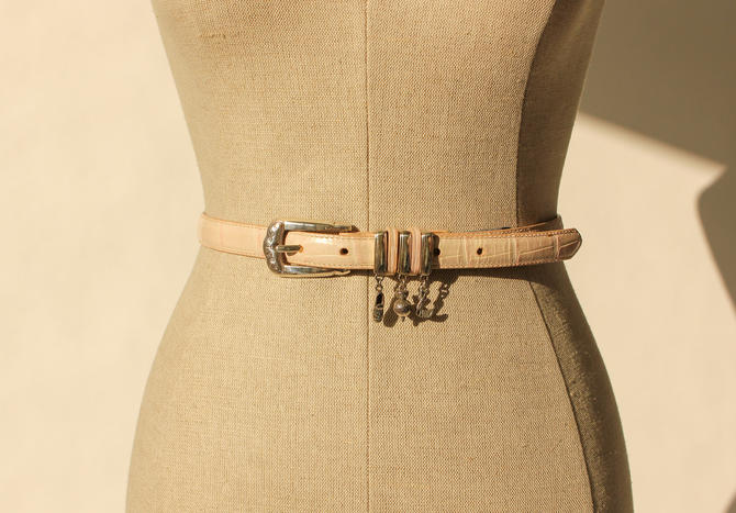 Vintage 90s Brighton Light Pink Crocodile Embossed Leather Belt with Silver Golf Charms | Made in USA | 1990s Designer, Boho, Western Belt by TheVault1969