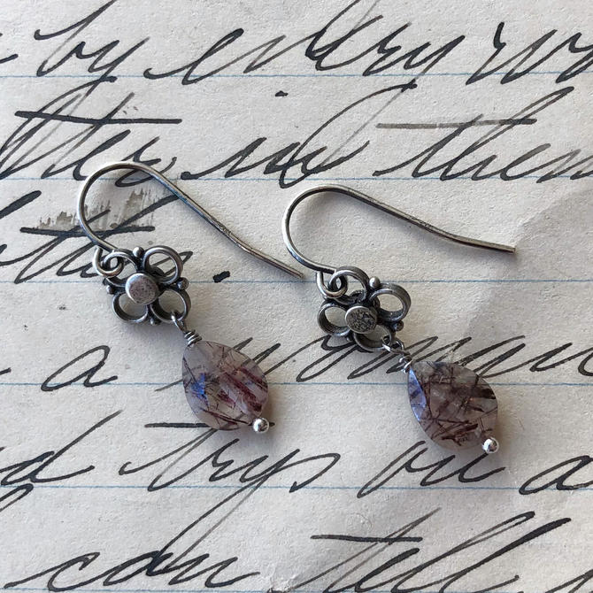 RESERVED Rutilated Amethyst Earrings by nonasuch