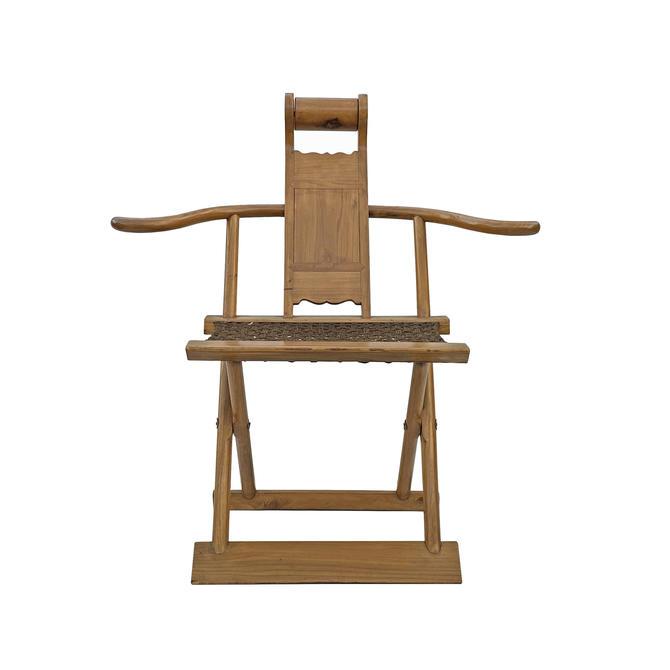 Chinese Elm Wood Wool Seat Wide Arm Folding Armchair cs5955E by GoldenLotusAntiques
