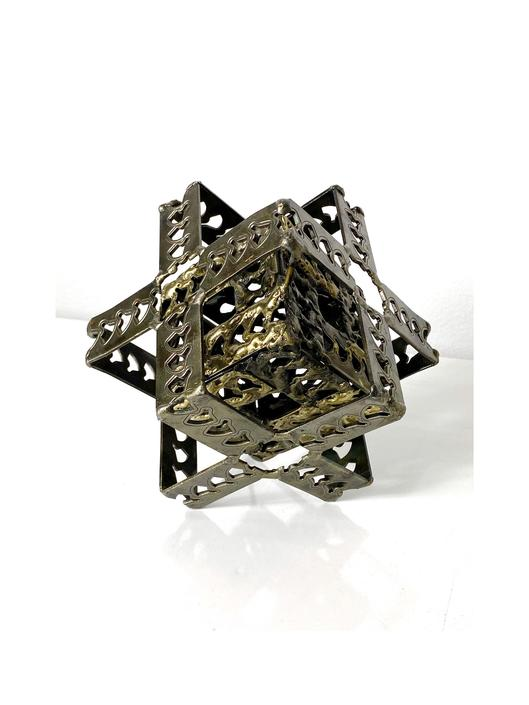 Vintage Brutalist Steel and Brass Cube Sculpture 1970s by 20cModern