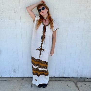 Vintage Ethnic Kaftan Dress Embroidered Caftan Maxi Dress 70s Clothing Hippie Clothes by LoveItShop
