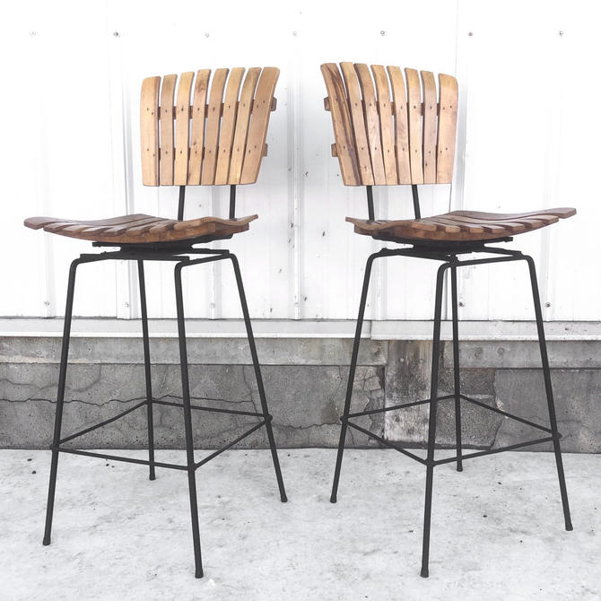 Vintage Wood Slat Bar Stools- Set of Four by secondhandstory