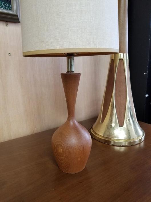 Mid-Century Modern turned wood vanity lamp