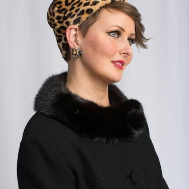 Coo Coo Ca Choo - Vintage 1950s 1960s Leopard Faux Fur Turban Beehive Pill Box Bucket Hat by RoadsLessTravelled2