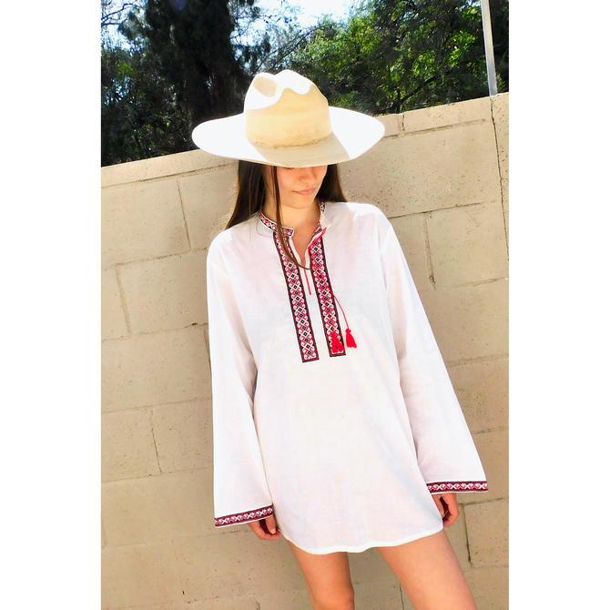 Romanian Hand Embroidered Shirt Mini Dress // vintage sun blouse tunic 1970s boho hippie cotton hippy white // O/S by FenixVintage