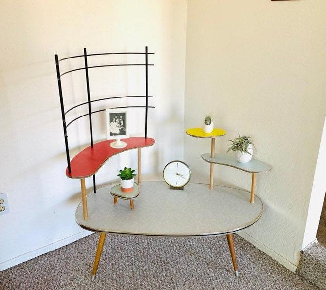 Formica Space Age Table, Mid Century Side Table, Formica End Table, Mid Century Plant Table, 50's Formica Table, 60's End Table by dadacat