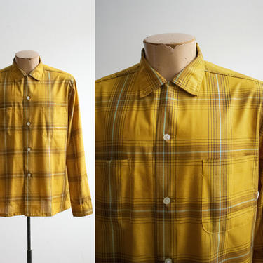Vintage 1960s Plaid Button Down / Vintage Towncraft Mens Shirt / Vintage Mens Button Down Medium / Mustard Plaid Button Up Medium / 1960s by milkandice