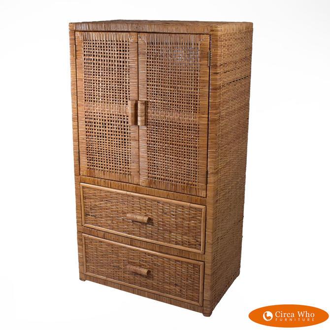 Vintage Woven Rattan Cabinet