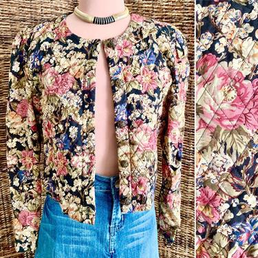 Dark Floral Cropped Jacket, Quilted, Blazer, Metal Buttons, Vintage 90s by GabAboutVintage