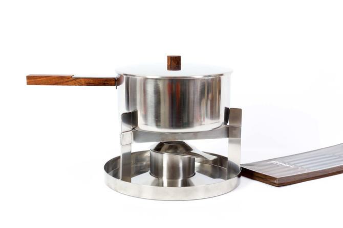 vintage mid century stelton stainless steel fondue pot set with forks peter holmblad arne. Black Bedroom Furniture Sets. Home Design Ideas