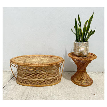 Oval Wicker Coffee Table with Storage