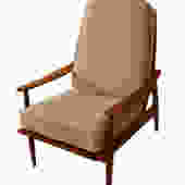 Mid Century Modern Teak High Back Lounge Chair by Marykaysfurniture