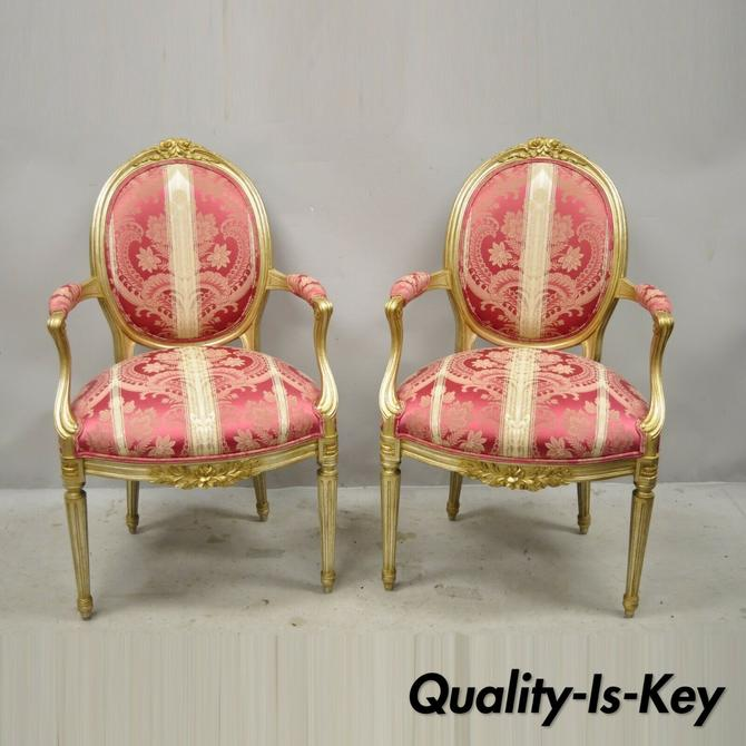 French Louis XVI Style Silver Gold Gilt Pink Damask Oval Back Arm Chairs - Pair