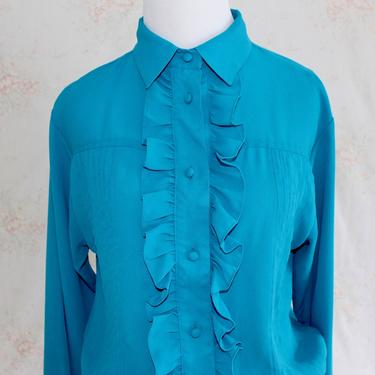 Vintage 80s Secretary Blouse, 1980s Ruffle Blouse, Tuxedo Shirt, Collared, Button Down, Turquoise Blue by WildwoodVintage