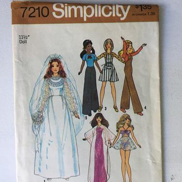 Vintage Simplicity 7210, Barbie Doll Clothing Pattern, UNCUT, Barbie Wedding Dress, Baby Doll Nightie by luckduck