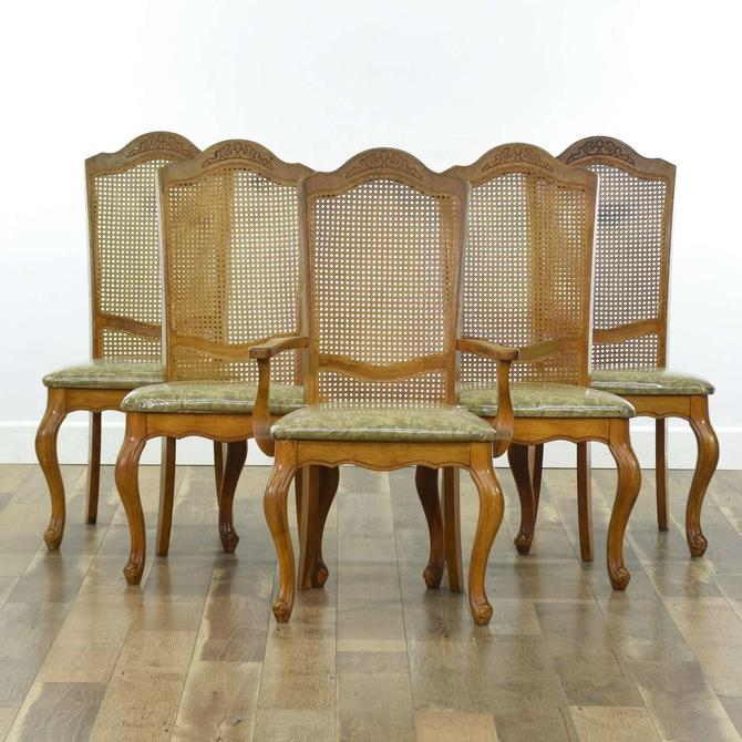 Set Of 5 Sandberg Carved Cane Back Dining Chairs
