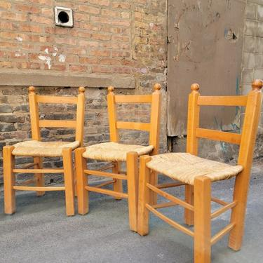 Antique Rustic Country Style Ladder Back Woven Rush Dining Chairs - Set of 6