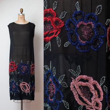 1920s Beaded Dress   Antique  20s Sheer Silk Dress by FemaleHysteria