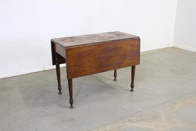 Antique Rustic Walnut Drop Leaf Table by AnnexMarketplace